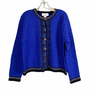 Tally Ho VTG Boiled Wool Fair Isle Nordic Sweater